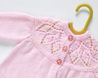 Traditional Style Baby Matinee Coat - Baby Pink - Hand Knit Childrenswear.