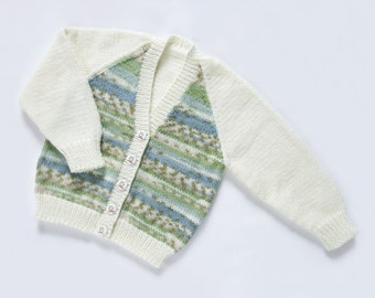 Girls Cardigan - Water Garden. Hand Knit Cardigan. Hand Knit Childrenswear.