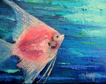 "Tropical Fish Oil Painting, Angelfish Painting, Textured Painting, 9x12x.75"" Original Art"