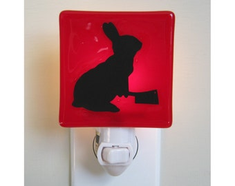 Funny Bunny Night Light - Fused Glass - Funny Gift