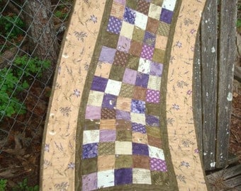 Brown Green and Purple Floral Fern Table Runner