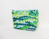 Medium Zipper Pouch, Fabric Pouch, Kaffee Fasset Pouch, Cosmetic Bag, Pencil Case, Toiletry Bag, Kaffe Fasset Cascades in Greens