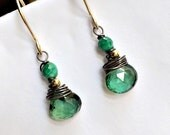 VALENTINES SALE Emerald Green Earrings Green Quartz Malachite Gold Fill Oxidized Silver Mixed Metal Wire Wrap Gemstones Petite Minimalist Ea