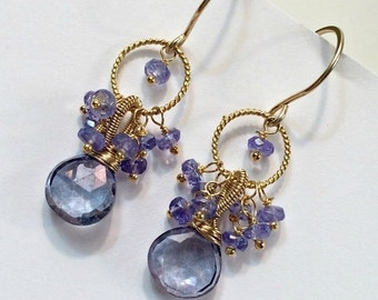 25% SALE Blue Earrings, Gold Fill Coiled Wire Hoop Earrings Tanzanite Earrings Blue Violet Dangle Earrings Petite Cluster Earrings Blue Gold