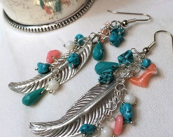 50% OFF SALE Bohemian Long Feather Earring Wire Wrap Gemstone Sterling Silver Turquoise Long Dangle Feather Earrings Hippie Boho Chic