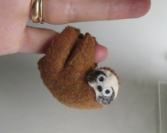 Sloth miniature felt plush stuffed animal with bendable legs and hand painted face rain forest animal