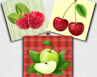 "INSTANT DOWNLOAD - Fruits- 1 inch Square -  Digital Collage Sheet High Resolution images in 1"" circles"