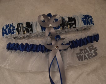 NEW Handmade wedding garters keepsake and toss STAR WARS wedding garter set