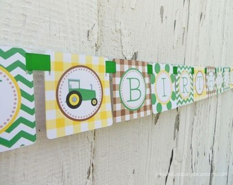 SALE-Tractor Birthday Banner, Happy Birthday Banner, Boy Party Decorations, Tractor Party, Ships QUICK