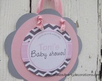 Chevron Baby Shower Decorations, Chevron Door Sign, Chevron Party Welcome Sign,  Baby Shower Decor , You Choose Colors & Sayings *