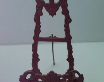 Ornate Metal Easel Picture Plate Holder Gold Brass Detailed Decorative