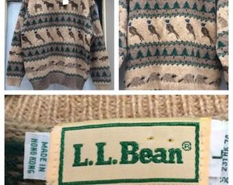 HTF 1970's L.L. Bean Wildlife Sweater - Moose Fox Raccoon more! Large