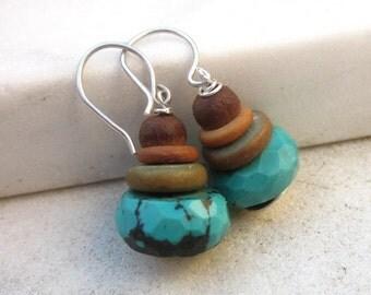 Boho chic earrings, African turquoise earrings, bone bead earrings, ethnic earrings, bohemian earrings, jasper earrings, stone earrings