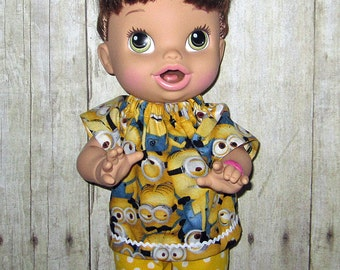 Corolle Tidoo Or Calin Doll  Baby Alive Doll clothes  Yellow Minion Print Set Fits 12 13  Inch Doll   Doll Clothes Handmade Made in USA