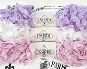 Seam Binding, Scrunched Ribbon, Shabby Ribbon, Crinkled Ribbon, Pink, Lavender,White,French Vintage,Gift Wrap,Scrapbooking, Villa Savoy