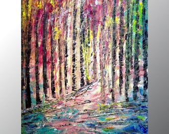 Spring Birch Trees Landscape Impasto Oil on Canvas Original Painting