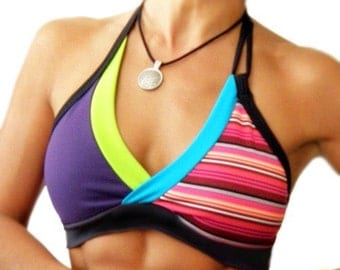 Funky Retro Stripe Halter Sports Bra (CrissCross)