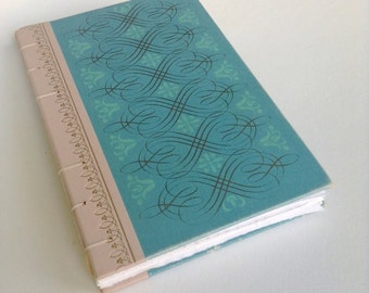 Journal from vintage book- blue and gold