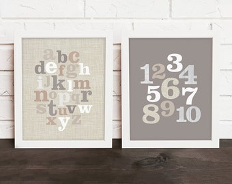 alphabet & numbers nursery art , ABC 123 nursery decor, alphabet print, numbers print, playroom art, neutral nursery, tan and gray nursery