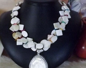 Showy Three Strand Mother of Pearl Necklace