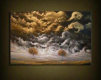 art painting landscape original art painting abstract landscape painting tree painting cloud tree art sunset HUGE 24 x 36 Mattsart