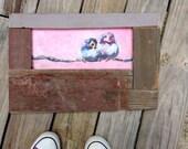 Reclaimed Wood, Baby Bird Art, Pink and Blue, Bird Painting, Whimsical Bird, Pink Bird, Free Shipping, Cute Bird, Girls Room Art, Wall Art