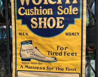 Antique Roll Up Shoe Store Sign/ Worth Shoes circa 1910s