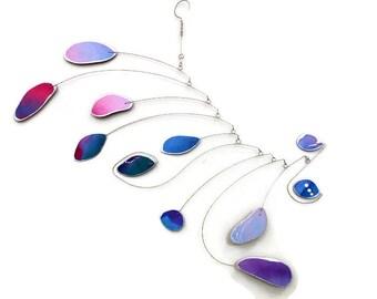 Modern Mobile, READY TO SHIP, Hanging Mobile, Purple, Pink, Blue, Mobile, Kinetic Art, Baby Shower Gift, Calder Inspired, Kids Room Art