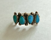 Vintage Sterling Turquoise Ring 4 Teardrop Shape Turquoise Size 6.5