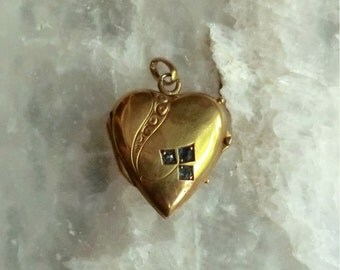 Edwardian Sm GF Heart Locket Charm Paste Stones