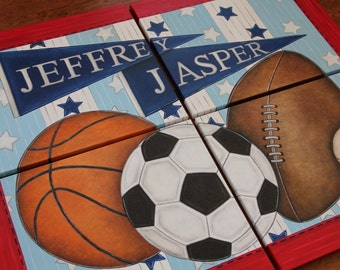 "You will receive 4 large 11"" x 14"" or 16"" x 20"" Custom Wall Art Sports Baseball Soccer Basketball Football Canvas Boys Bedding Room Decor"