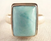 Vintage Size 8 Rectangular Larimar Sterling Ring
