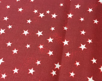 Red fabric with white stars, cotton print. quilting, sewing, DIY,  Half-yard