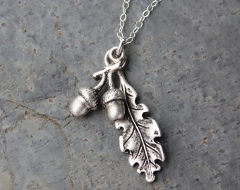 Acorn and Oak leaf necklace - satin finish silver charms on sterling silver chain - graduation, growth - free shipping USA