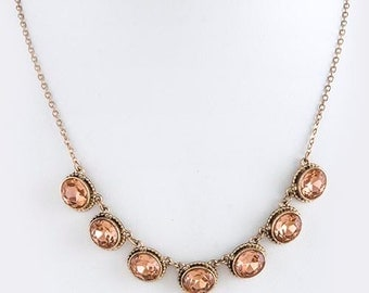 FREE shipping 35.99 Beautiful  peach rhinestone and gold necklace.    FREE Shipping in USA
