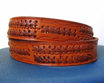 Vintage 70s Rawhide Brown Leather Belt with Woven Details Size 44