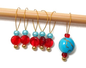 Beaded Knitting Stitch Markers Aqua Turquoise Red Snagless Knitting Tools