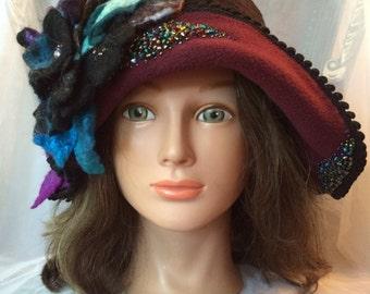 Designer Fleece women's cloche hat flapper warm winter burgundy blue purple black hat Tatiana a123