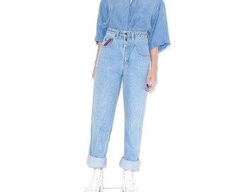 WTF HALF OFF vintage Unionbay mom jeans / small 26 27 waist / high waisted jeans skinny jeans light wash jeans boyfriend jeans 90s clothing