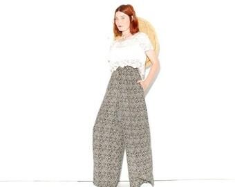OMG HALF OFF cutest Palazzo Pants medium large // high waisted pants wide leg pants boho pants gypsy pants damask floral pants navy blue cre