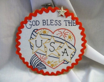 Hoop Art, Embroidery Hoop Art, God Bless The USA, Embroidered Wall Art, Home Deco, Hand Embroidery, embroidered art, handmade
