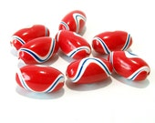 Red White and Blue Oval Beads Handmade from Polymer Clay