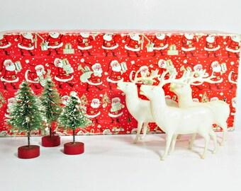 Three Vintage Plastic Reindeer and 3 Bottle Brush Trees