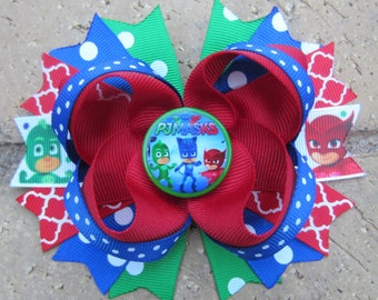 PJ Masks inspired custom hair bow for birthday party or anytime - choose 5 inch bow or piggies
