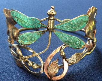 dragonfly bronze, copper and silver cuff bracelet, with leaves