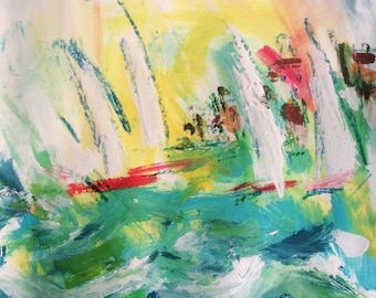 Sailboat acrylic  Painting, original art, sea and sun beach theme with yellow, turquoise, and red ocean art by Russ Potak