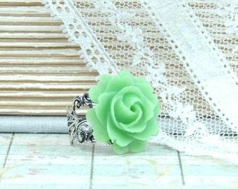 Green Rose Ring Victorian Ring Green Flower Ring Green Floral Ring Pastel Ring Green Ring Adjustable Ring