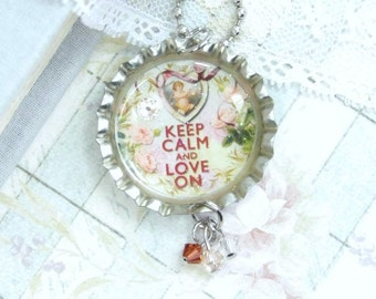 Love On Necklace Keep Calm Necklace Cupid Necklace Love Gift Victorian Necklace Love Necklace Keep Calm Jewelry