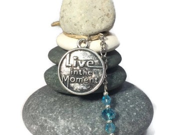 Live in the Moment Rock Cairn, Zen, Spiritual Small Gift, Wishing Stones, Hope, Believe, Balance, Enjoy, Stacked Stones, Do Your Thing Xmas