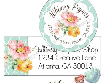 Return Address Labels - Flowers - Glossy Labels - choice of sizes